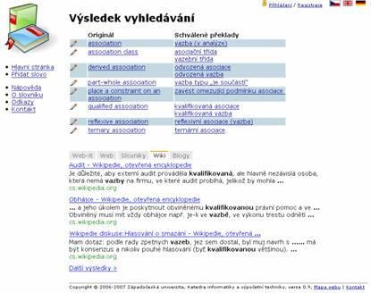 Překladové termíny zobrazené v kontextu, zde s omezením na předdefinované wiki