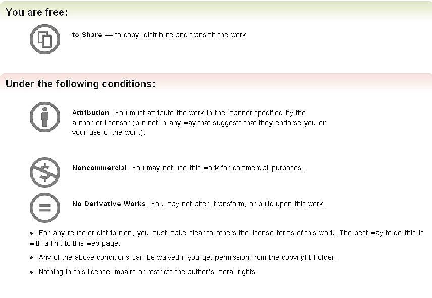 Obr. č. 3 : Zkrácené znění licence CC
