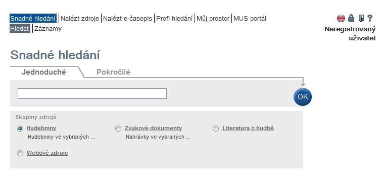Ve Snadném hledání mohou uživatelé využít připravené skupiny zdrojů (tzv. předvybrané sady) strukturované dle druhu dokumentu