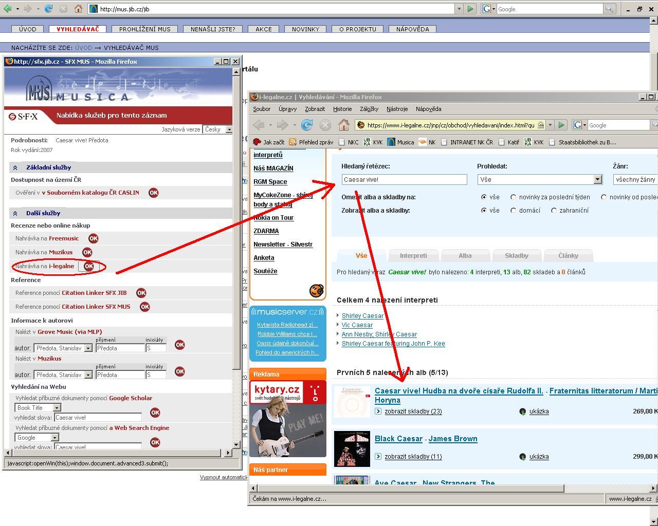 SFX nabízí přidané služby k vyhledaným záznamům, v tomto příkladu jde o vyhledání nahrávky na hudebním serveru i-legalne.cz