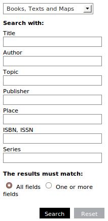 Obr. 2: Formulář rozšířeného vyhledávání v systému AquaBrowser