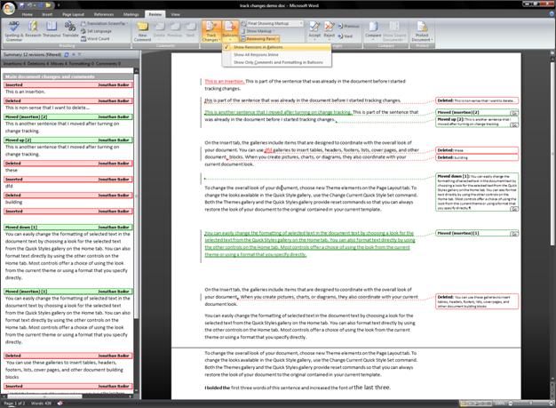 Vizualizace historie úprav dokumentu v Microsoft Word 2010