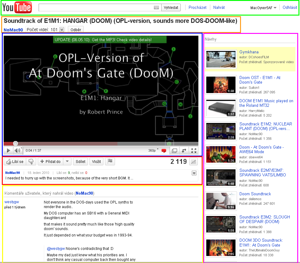 Obr.4: Stránka promítaného videa