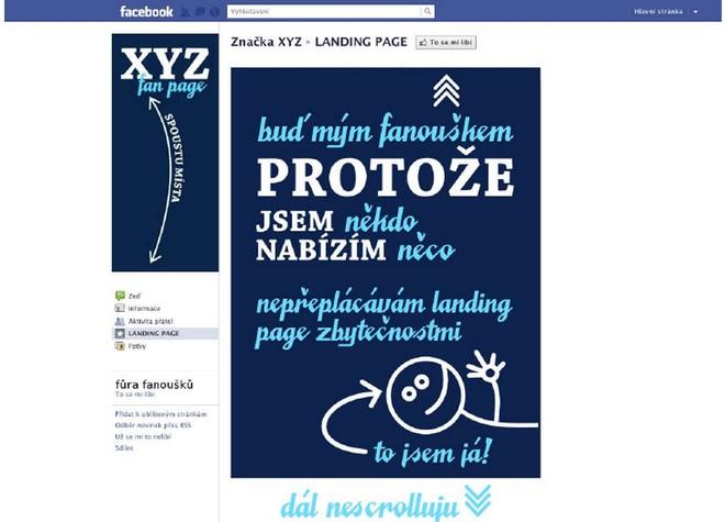 Vzor ideálně řešené úvodní stránky na firemním či produktovém profilu na Facebooku