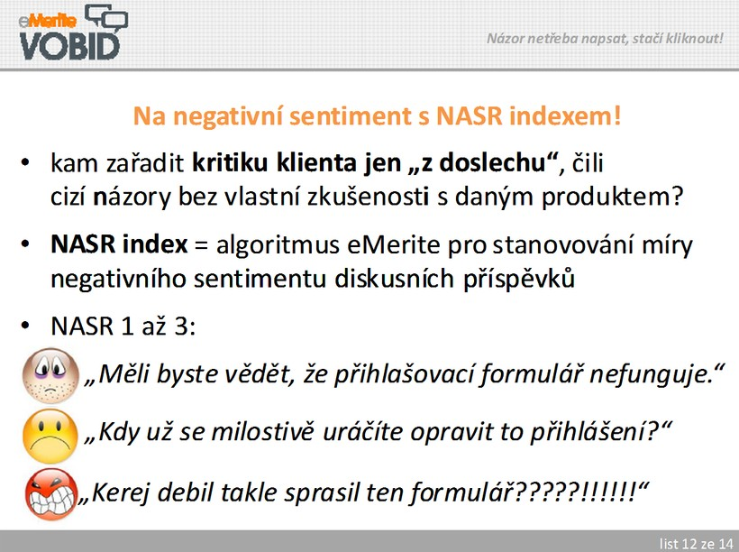 NASR Index a negativní sentiment