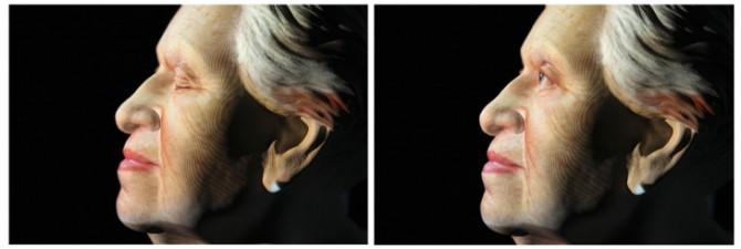 Ukázka videoprojekce na bustu Markéty Novákové