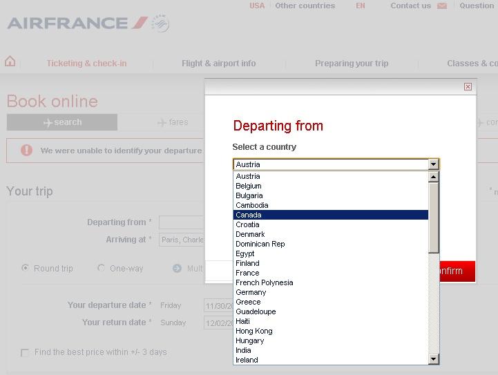 Užívat systém Air France je vždy velmi vzrušující. Nikdy třeba nevíte, jak bude reagovat na letenku koupenou přes Deltu s letem nalistovaným jako KLM a operovaným ČSA. A nebo jestli vůbec najdete zemi odletu.