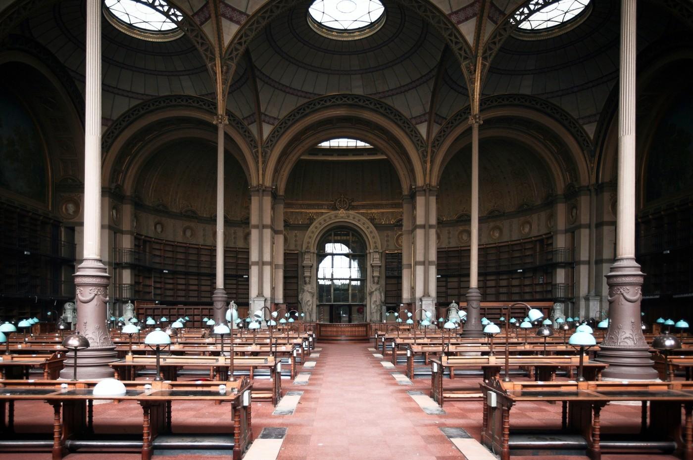 Interiér historického sídla knihovny na Rue de Richelieu