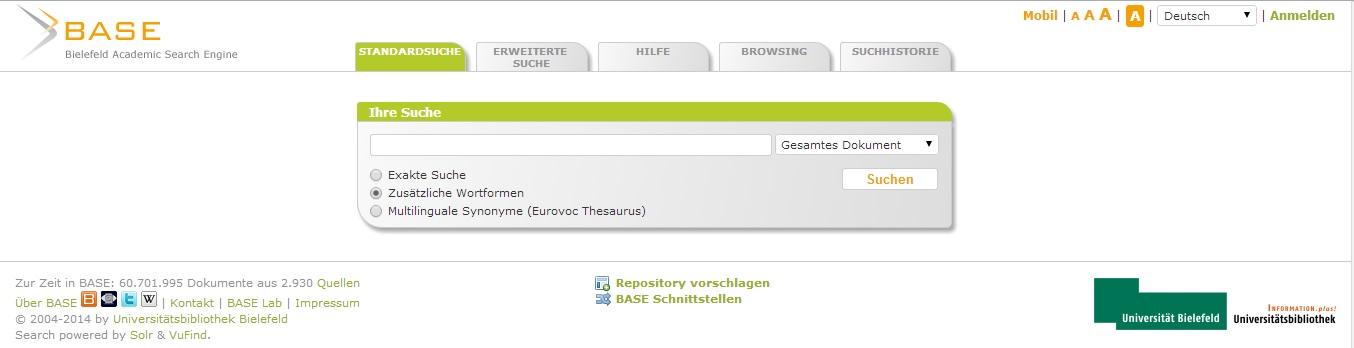 Hlavní stránka webového rozhraní vyhledávače BASE
