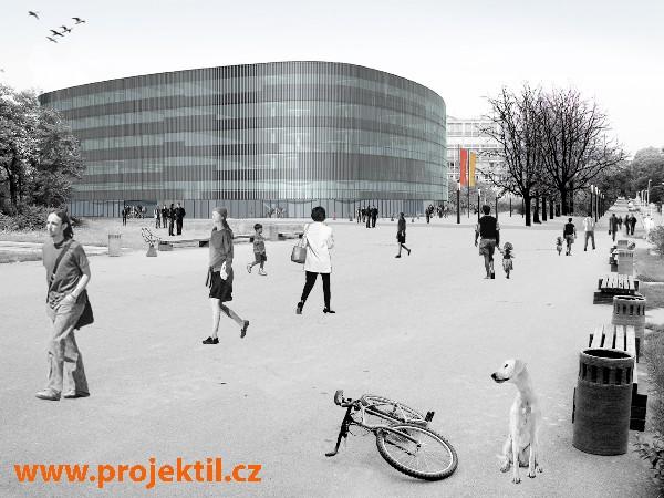 Vizualizace exteriéru Národní technické knihovny (pohled od Fakulty stavební směrem k Vítěznému náměstí)