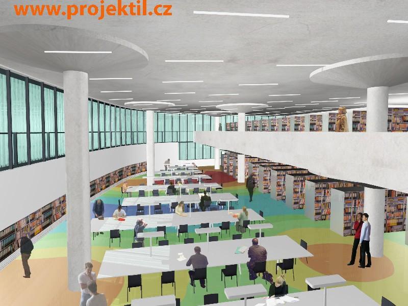 Vizualizace interiéru Národní technické knihovny (pohled do jedné ze studoven)