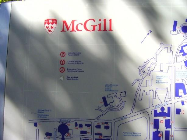 Mapa areálu McGillovy univerzity