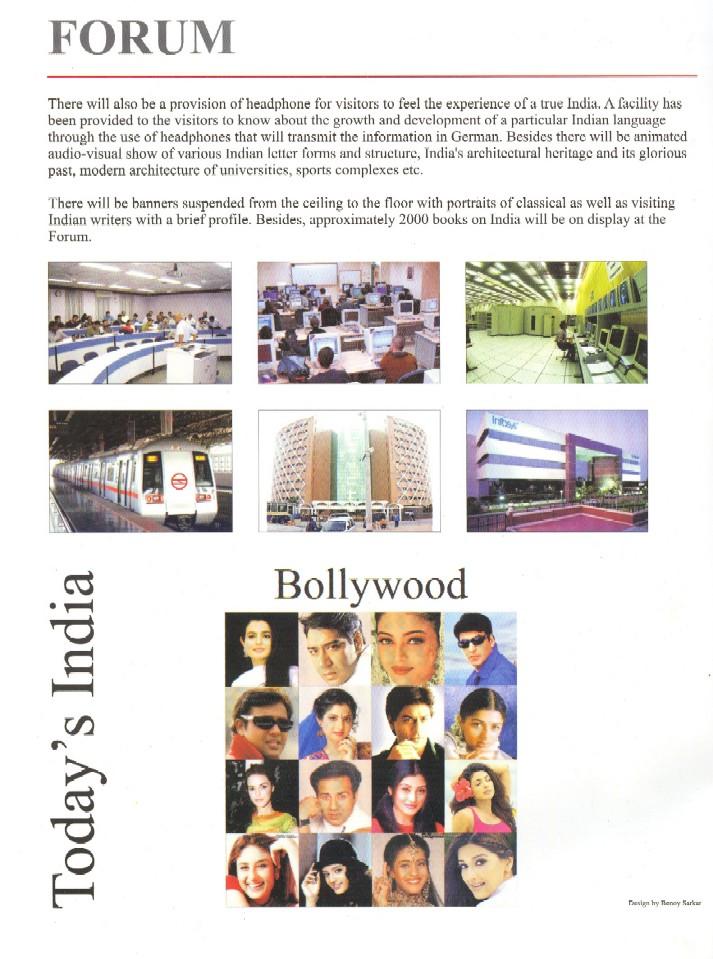 Leták k hlavní indické expozici prezentující tamní technologický pokrok a filmový průmysl