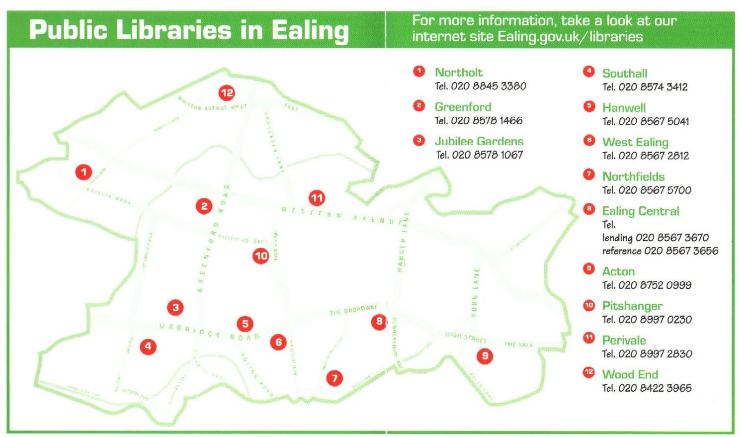 Plánek knihoven v Ealingu