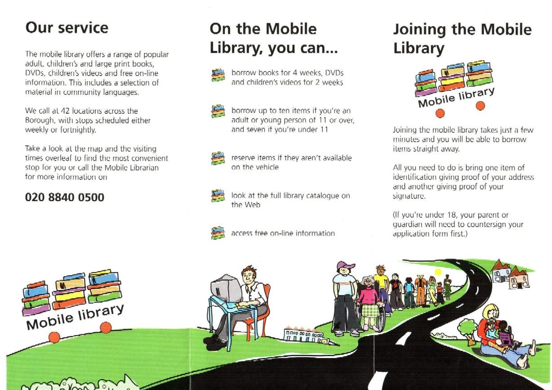 Informační leták o mobilní knihovně