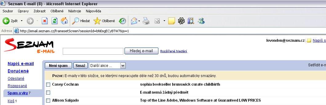 Obrázok 3 Prijatý spam v e-mailovej schránke, ktorá má filter a triedi spam do samostatnej zložky