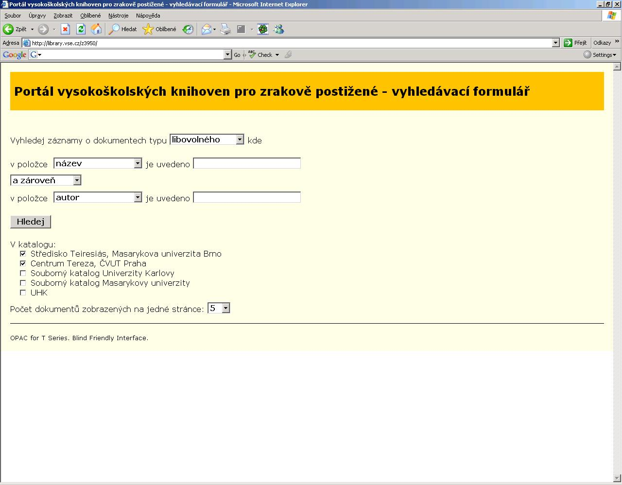 Obr. 2 Vyhledávací formulář
