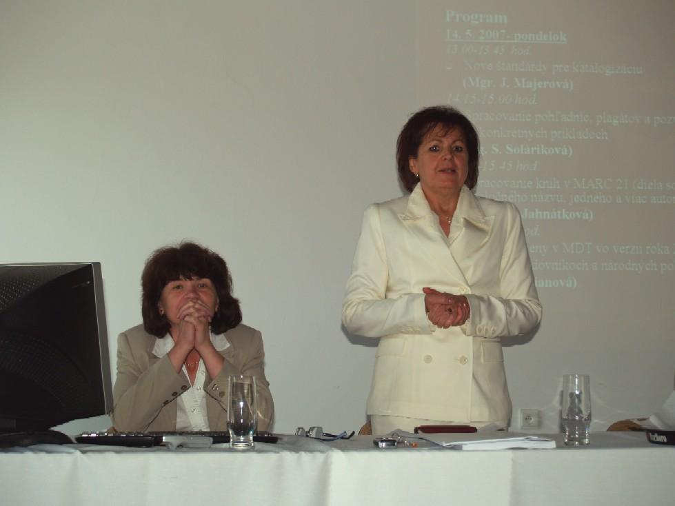 Mgr. Jarmila Majerová a PhDr. Anna Kucianová