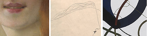 Od křehké malby Vojtěcha Hynaise přes něžnou čáru Josefa Šímy až ke  geometrickým liniím Zdeňka Sýkory -  fragmenty z detailního zobrazení uměleckých děl ve Sbírkách online