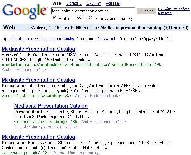Výsledky vyhledávání veřejně dostupných katalogů prezentací vytvořeních v systému Mediasite (počet 15 000)