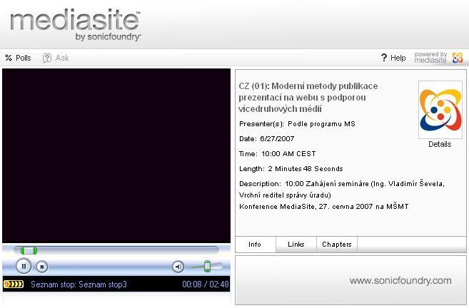 Prostředí Mediasite - záznam úvodního slova