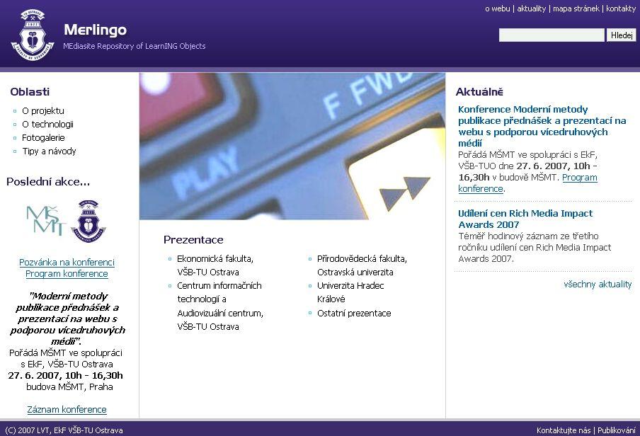 Úvodní stránka portálu Merlingo