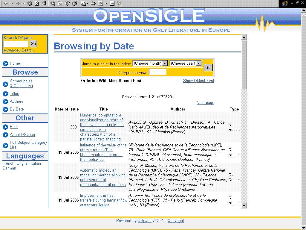 Obr. č. 2: začátek tabulkového seznamu zkrácených záznamů databáze OpenSIGLE v rámci rejstříku dat zveřejnění dokumentů [získáno 2007-09-20]