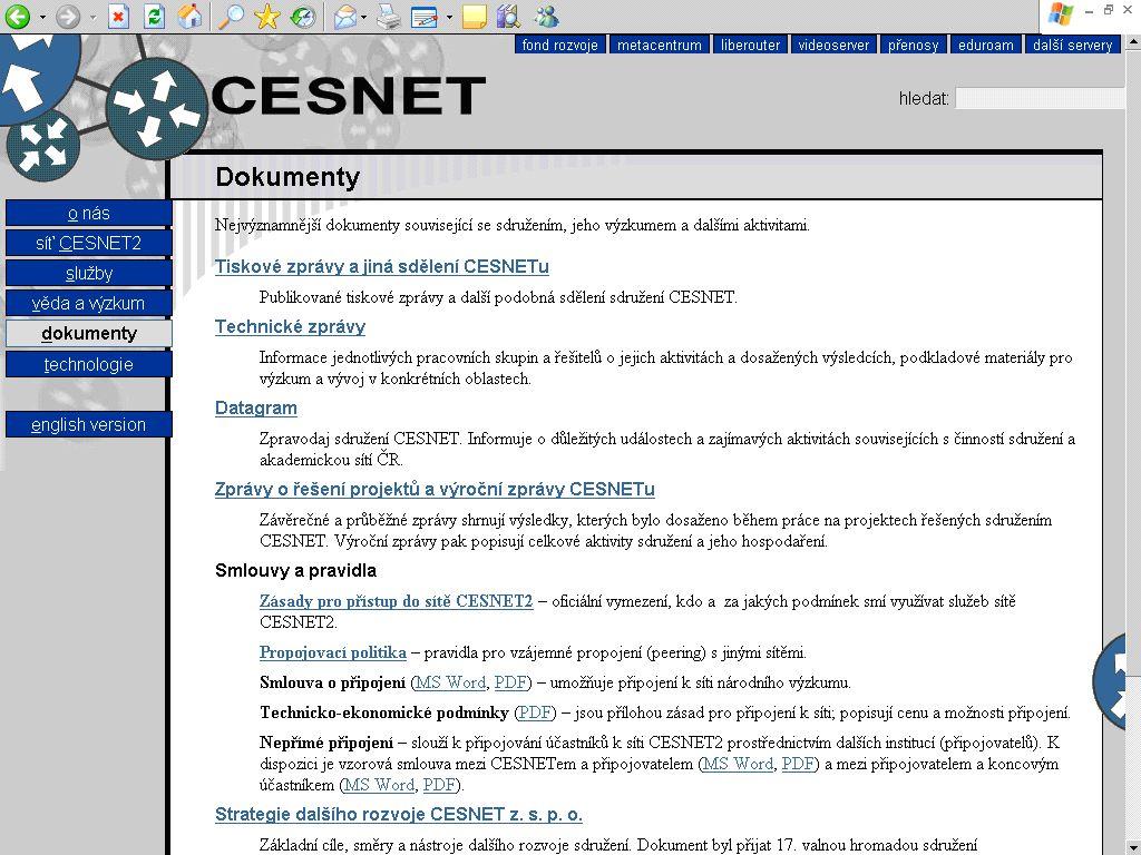 Obr. č. 1: Adresář Dokumenty na webovém sídle CESNET