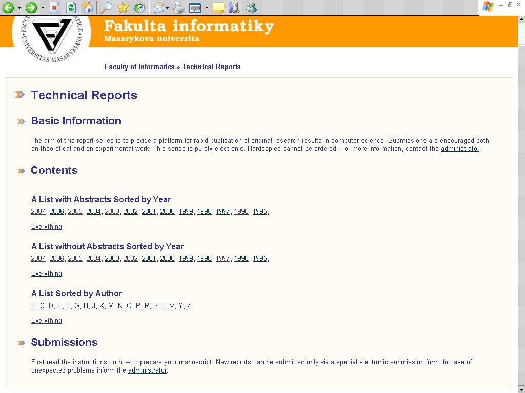Obr. č. 3: Rejstřík technických zpráv na webovém sídle FI MU