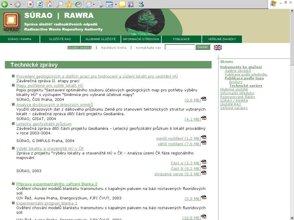 Obr. č. 4: Zkrácené záznamy technických zpráv na webu SÚRAO