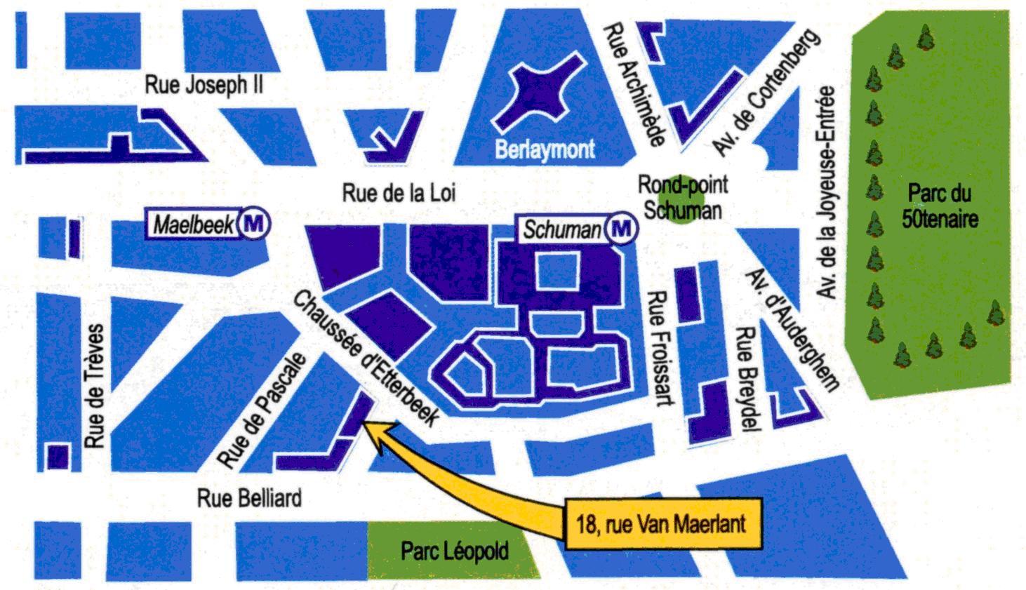Obr. č. 1 Umístění Ústřední knihovny v Bruselu