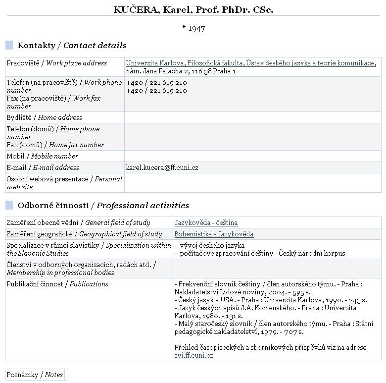 Obr. 3: Zobrazení výsledku vyhledávání osob v databázi Kdo je kdo v české slavistice