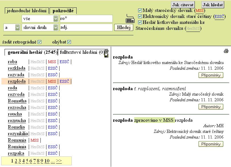 Obr.4: Náhled zobrazení výsledků pokročilého vyhledávání ve Vokabuláři webovém