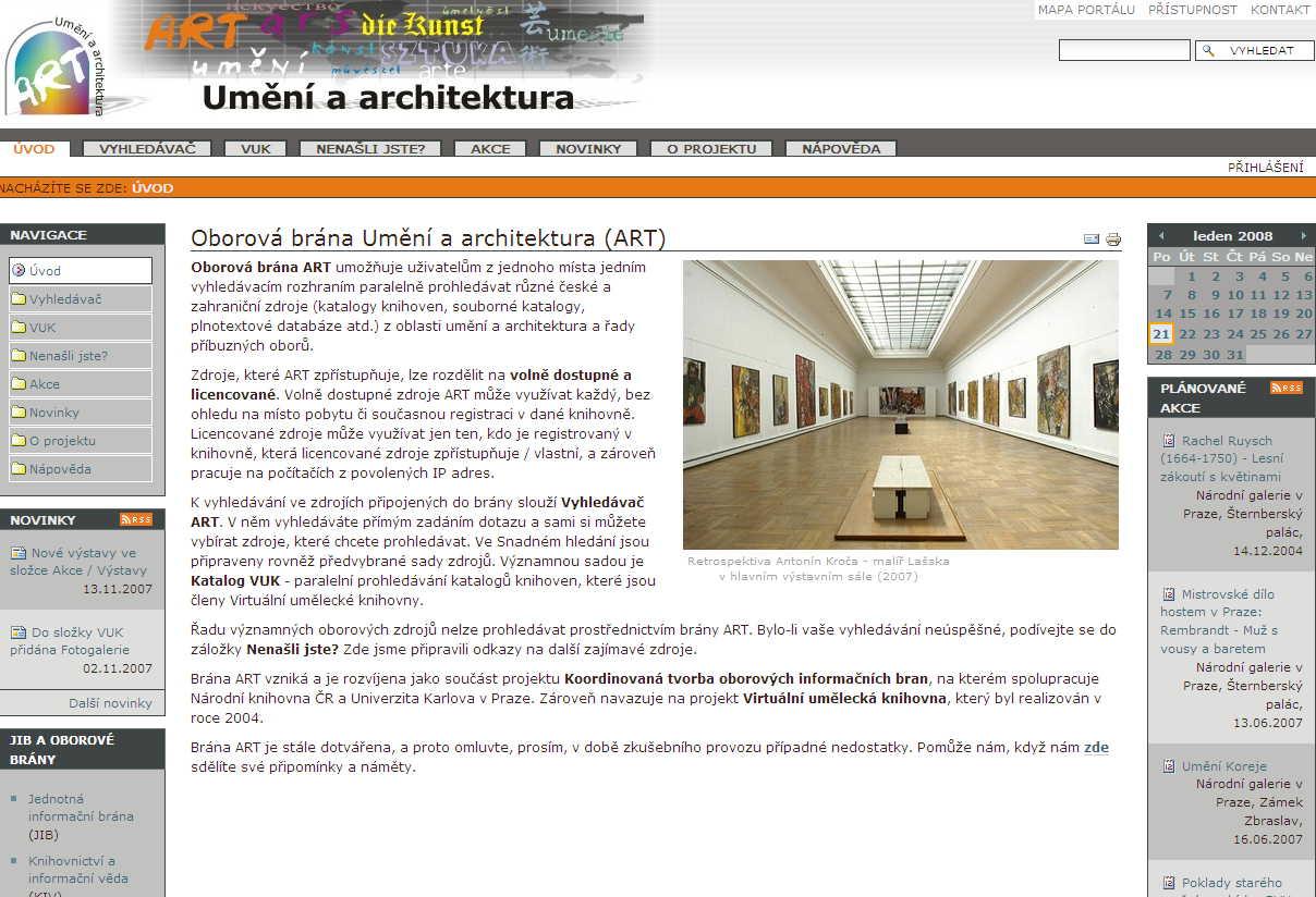 Úvodní stránka oborové brány Umění a architektura