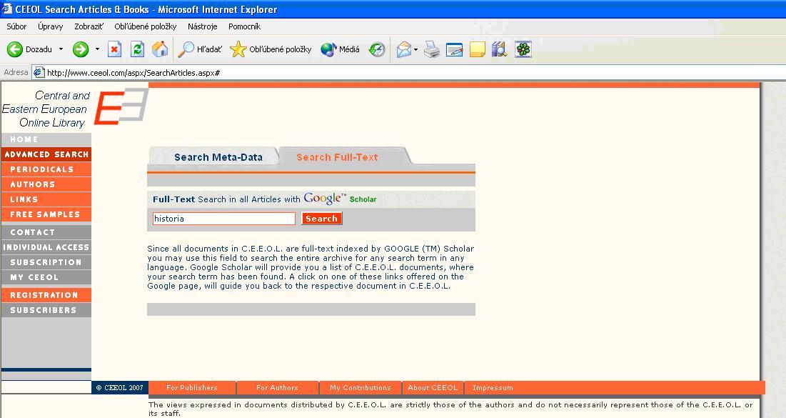 Obr. 10: Zadanie hesla v poli plnotextového vyhľadávania