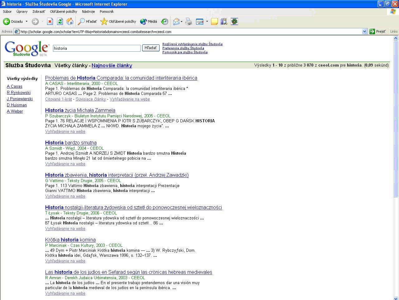 Obr. 11: Výsledky vyhľadávania zobrazené v prostredí Google Scholar