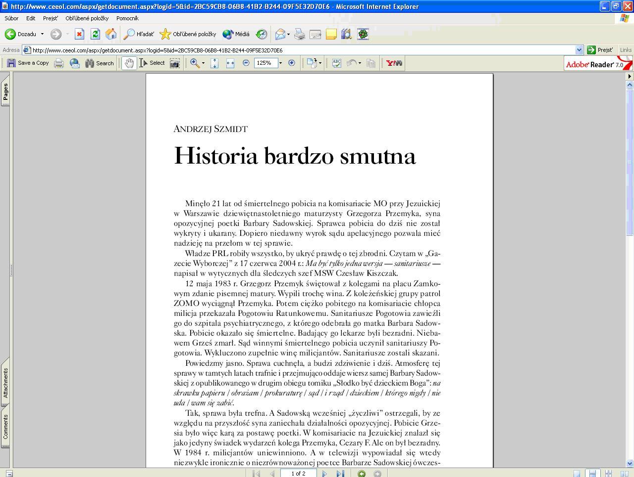 Obr. 12: Vstup do plného textu (tretí záznam v ponuke výsledkov)