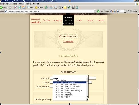 Databáze padlých a zemřelých s vyhledávacím formulářem