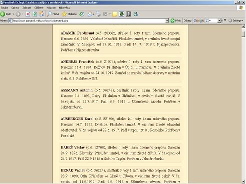 Výstup záznamů, splňujících kritéria zadaná ve vyhledávacím formuláři