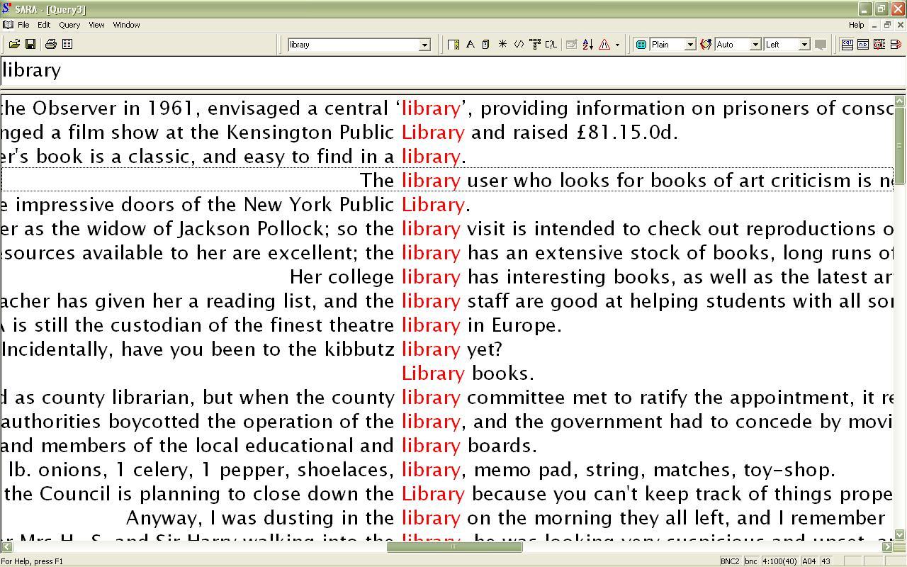 Obr. 2: Náhled základního zobrazení výsledku při hledání výrazu library ve vyhledávacím programu SARA