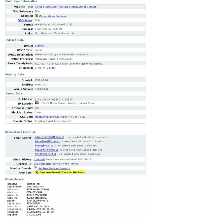 Příklad vyhledání domény ikaros. cz na adrese http://www.domaintools.com/
