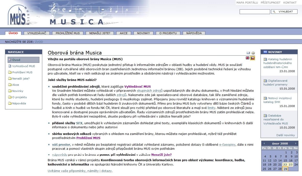 Úvodní stránka MUS poskytuje stručný a strukturovaný přehled všech nabízených služeb
