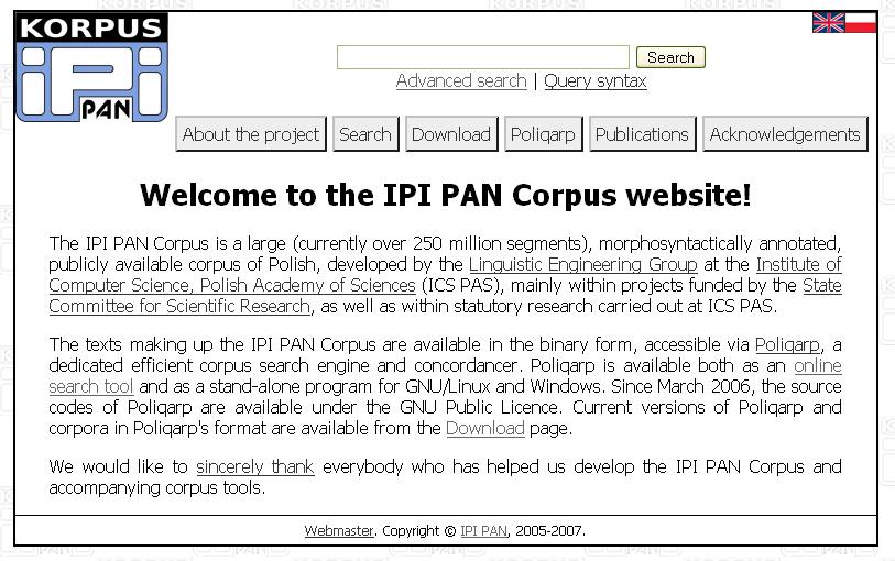 Obr. 1: Úvodní stránka Korpusu IPI PAN