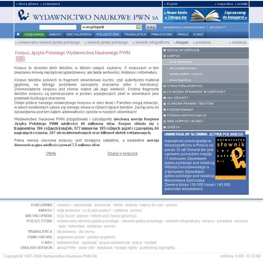 Obr. 3: Úvodní stránka korpusu PWN