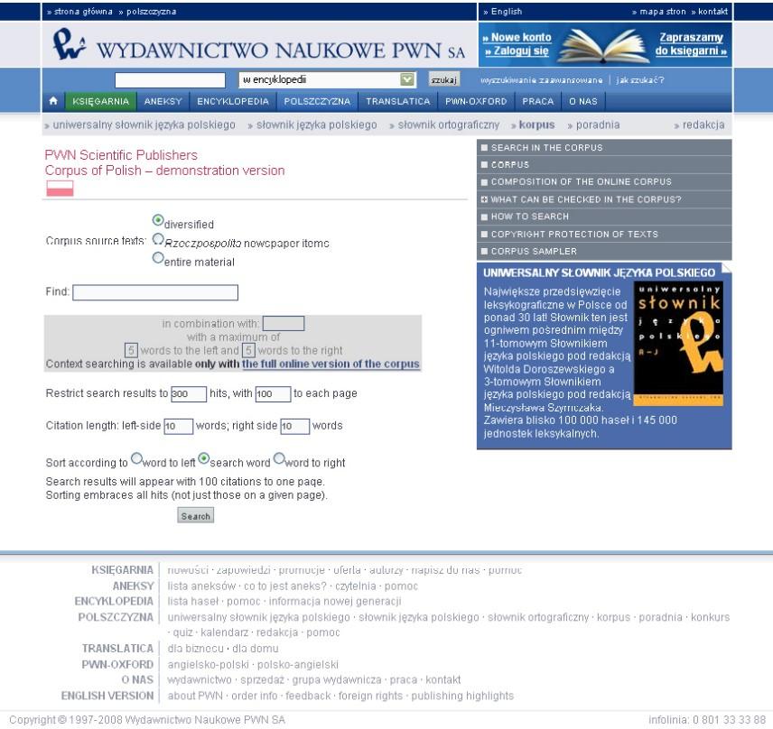 Obr. 4: Formulář pro vyhledávání v Korpusu PWN