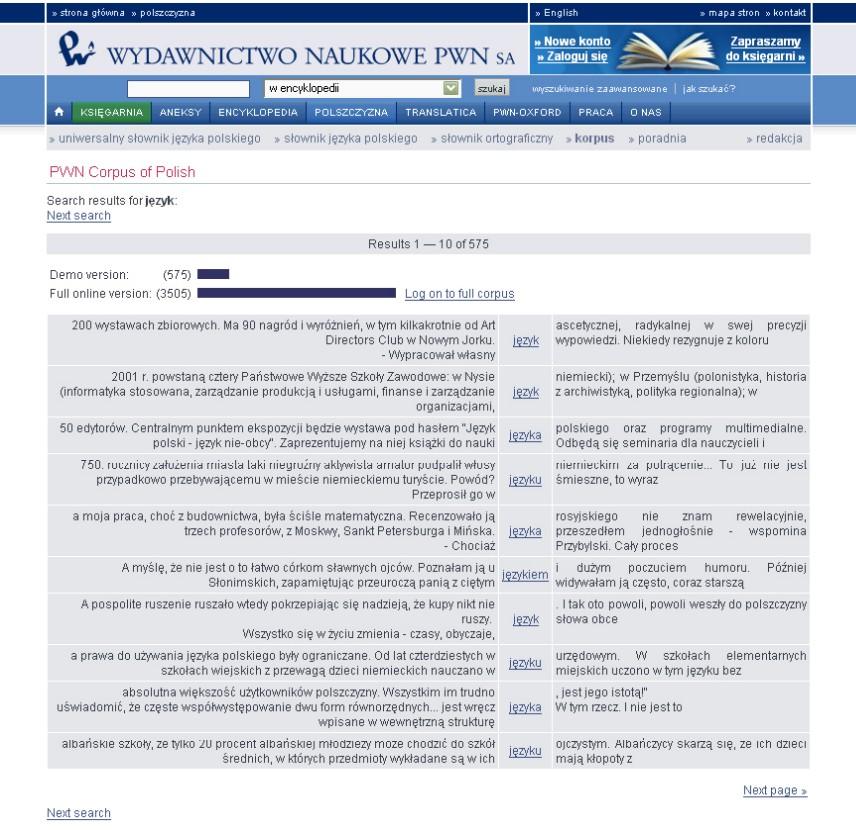 Obr. 5: Výsledky vyhledávání slova jazyk v Korpuse PWN (hledání bylo omezeno na texty z novin Rzeczpospolita se zobrazením deseti výsledků na stránku a zarovnáním podle levého kontextového slova)