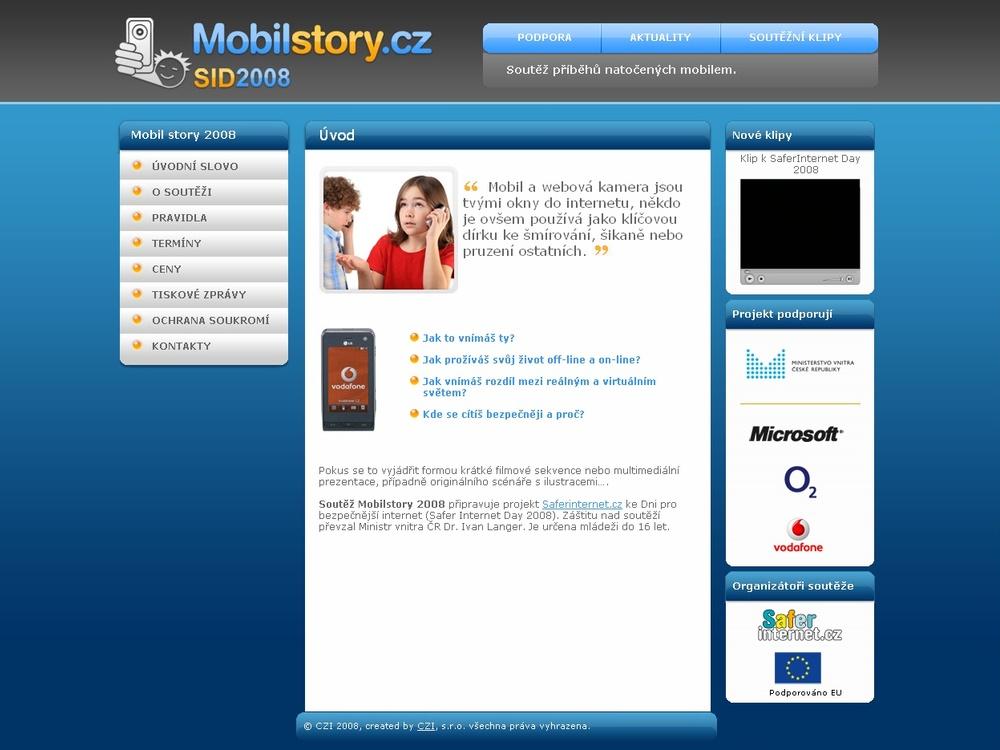 Náhled nového portálu projektu Mobilstory