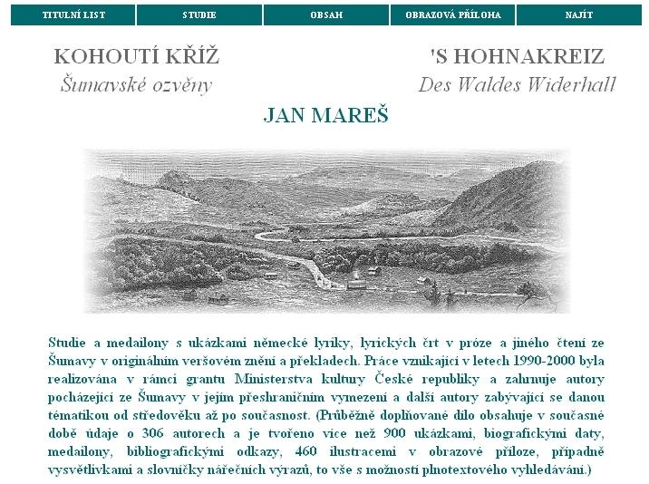 Titulní strana, verze z roku 2001