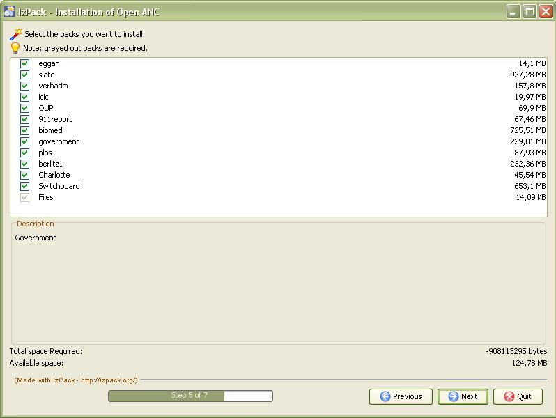 Obr. 1: Dialogové okno instalátoru Open ANC, které nabízí možnost zaškrtnout korpusy, které chceme nainstalovat