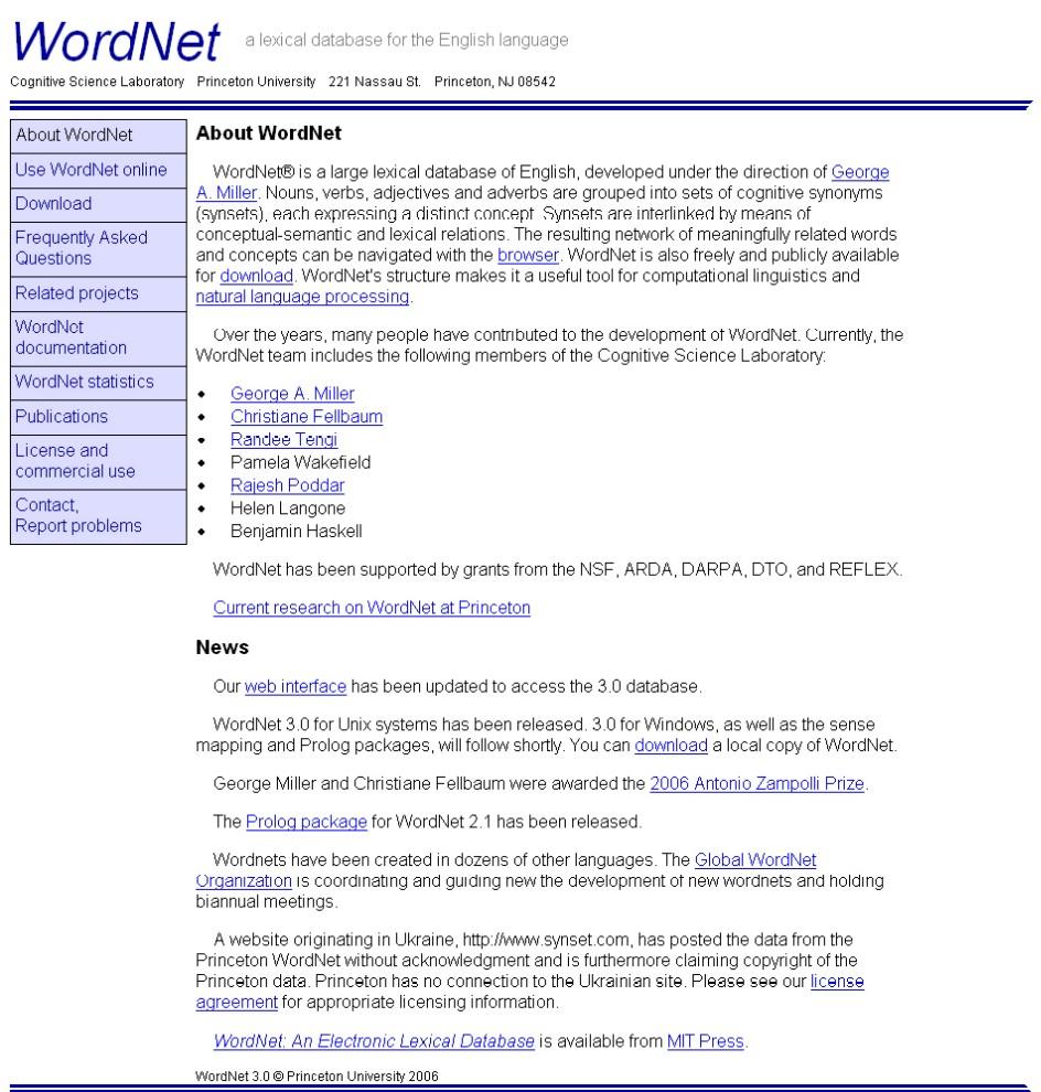 Obr. 1: Webová prezentace projektu WordNet